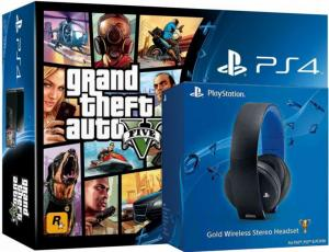 Playstation 4 + Playstation Gold Headset + GTA V