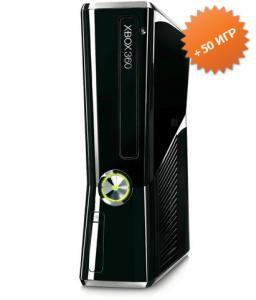 Microsoft Xbox 360 Slim 250Gb (FREEBOOT + прошивка LT+ 3.0) + 50 игр