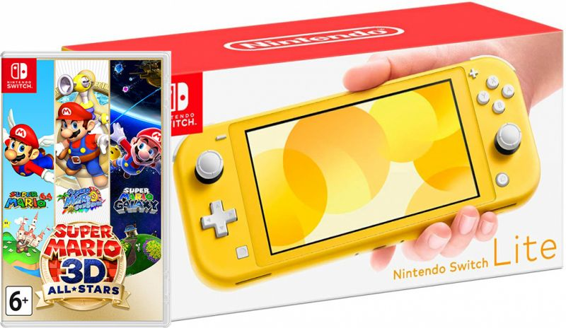Nintendo Switch Lite Yellow + Super Mario 3D All-Stars Фотография 0