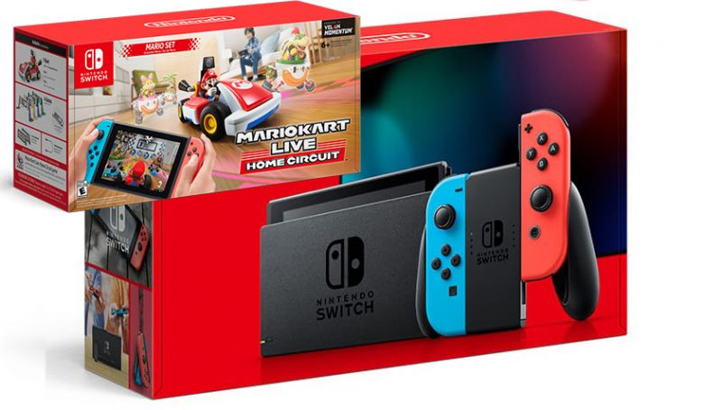 Nintendo Switch Neon Blue / Red HAC-001(-01) + Mario Kart Live: Home Circuit - Mario Set (Nintendo Switch) Фотография 0