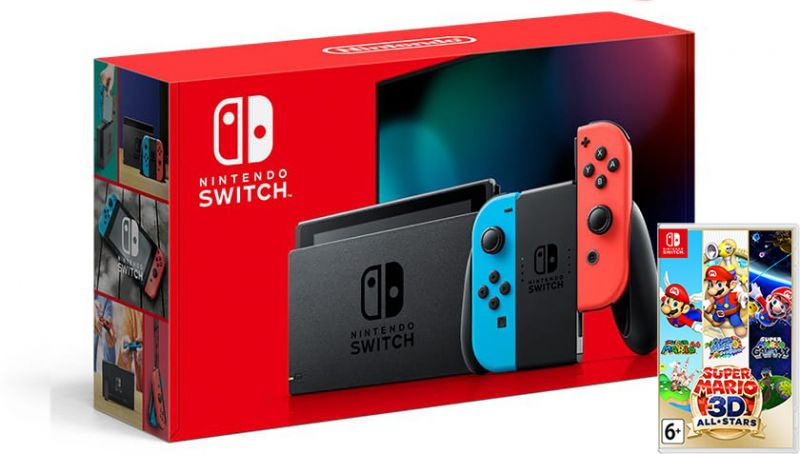 Nintendo Switch Neon Blue / Red HAC-001(-01) + Super Mario 3D All-Stars (Nintendo Switch) Фотография 0