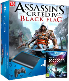 Sony Playstation 3 Super Slim 500Gb (CECH-4208C) + игры: Assassin`s Creed IV + Child of Eden (692.18)