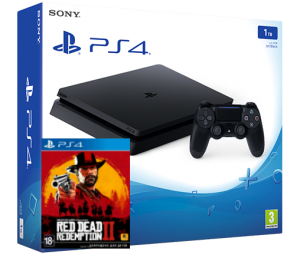 Sony Playstation 4 Slim 1TB + игра Red Dead Redemption 2 (PS4)